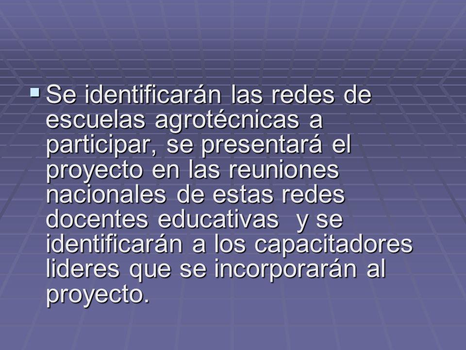 Se identificarán las redes de escuelas agrotécnicas a participar, se presentará el proyecto en las reuniones nacionales de estas redes docentes educat