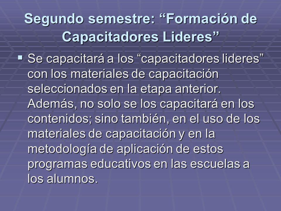 Segundo semestre: Formación de Capacitadores Lideres Se capacitará a los capacitadores lideres con los materiales de capacitación seleccionados en la