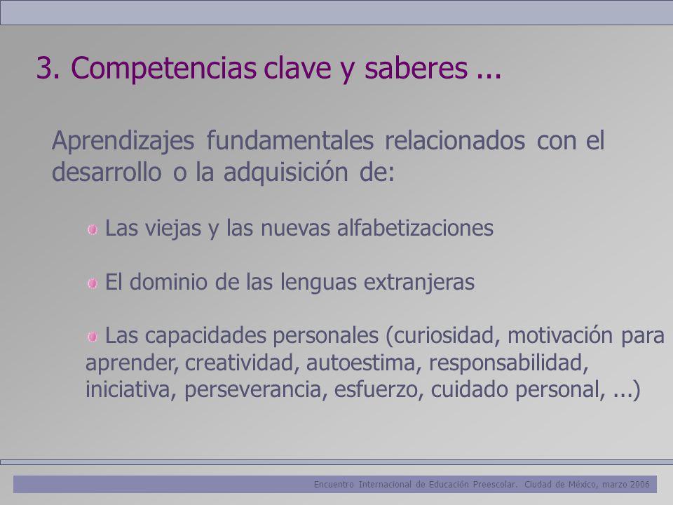 Encuentro Internacional de Educación Preescolar. Ciudad de México, marzo 2006 3. Competencias clave y saberes... Aprendizajes fundamentales relacionad