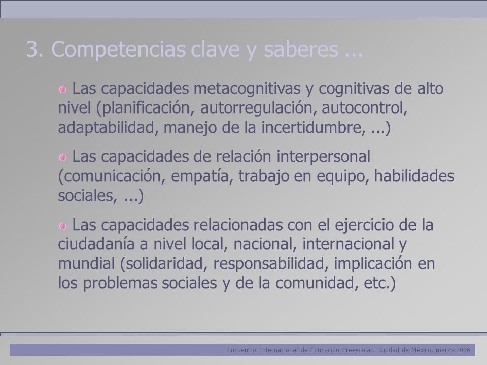 Encuentro Internacional de Educación Preescolar. Ciudad de México, marzo 2006 3. Competencias clave y saberes... Las capacidades metacognitivas y cogn