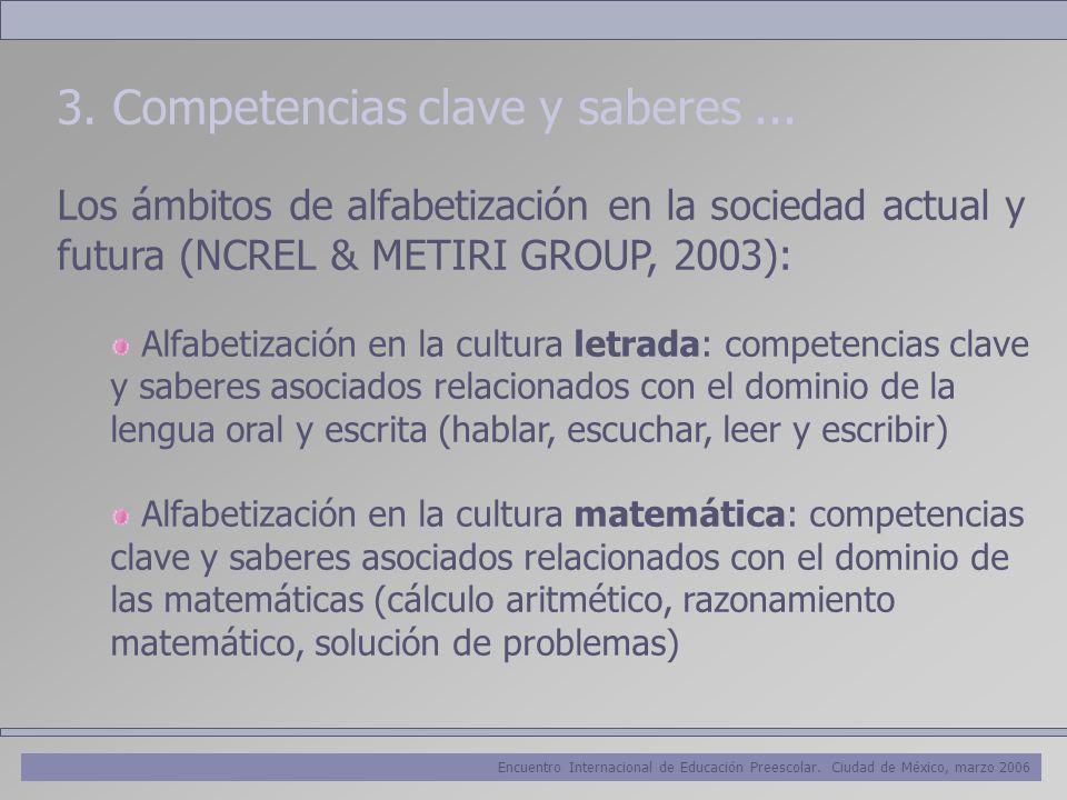 Encuentro Internacional de Educación Preescolar. Ciudad de México, marzo 2006 3. Competencias clave y saberes... Los ámbitos de alfabetización en la s