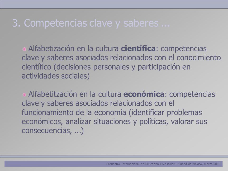 Encuentro Internacional de Educación Preescolar. Ciudad de México, marzo 2006 3. Competencias clave y saberes... Alfabetización en la cultura científi
