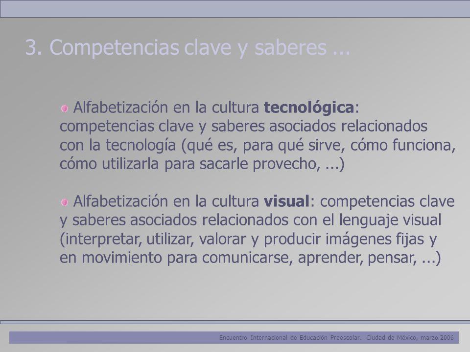 Encuentro Internacional de Educación Preescolar. Ciudad de México, marzo 2006 3. Competencias clave y saberes... Alfabetización en la cultura tecnológ