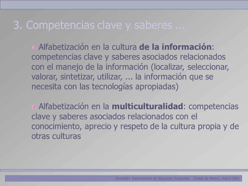 Encuentro Internacional de Educación Preescolar. Ciudad de México, marzo 2006 3. Competencias clave y saberes... Alfabetización en la cultura de la in