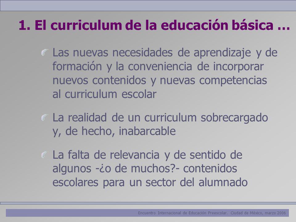 Encuentro Internacional de Educación Preescolar. Ciudad de México, marzo 2006 1. El curriculum de la educación básica … Las nuevas necesidades de apre