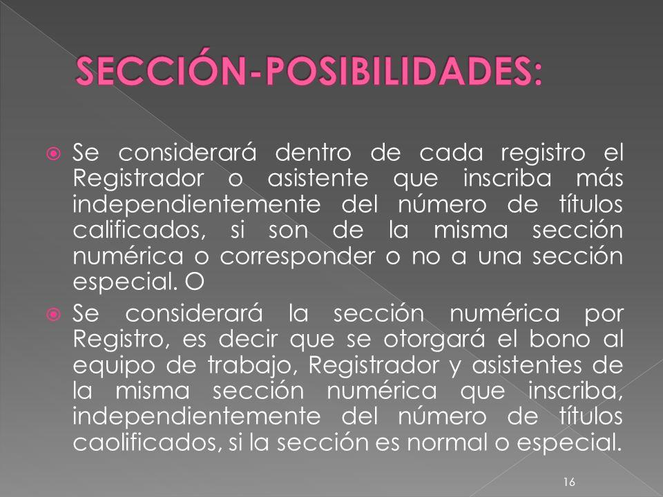 Se considerará dentro de cada registro el Registrador o asistente que inscriba más independientemente del número de títulos calificados, si son de la misma sección numérica o corresponder o no a una sección especial.