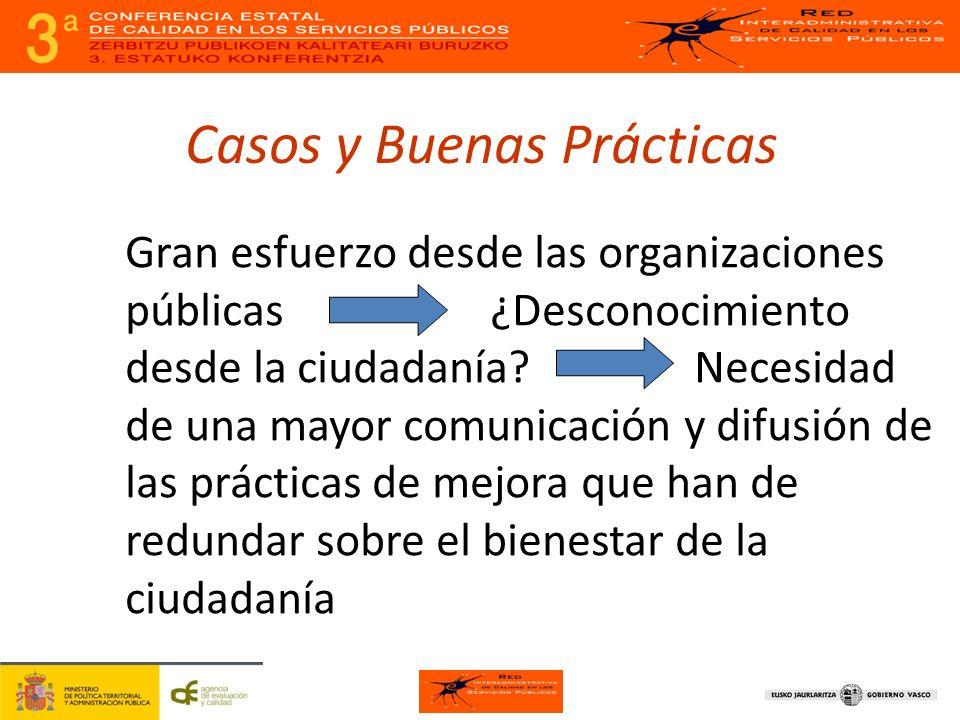 Casos y Buenas Prácticas Gran esfuerzo desde las organizaciones públicas ¿Desconocimiento desde la ciudadanía.