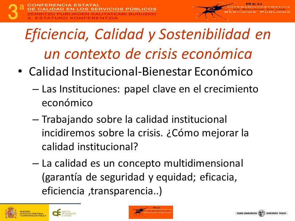 Eficiencia, Calidad y Sostenibilidad en un contexto de crisis económica Calidad Institucional-Bienestar Económico – Las Instituciones: papel clave en el crecimiento económico – Trabajando sobre la calidad institucional incidiremos sobre la crisis.
