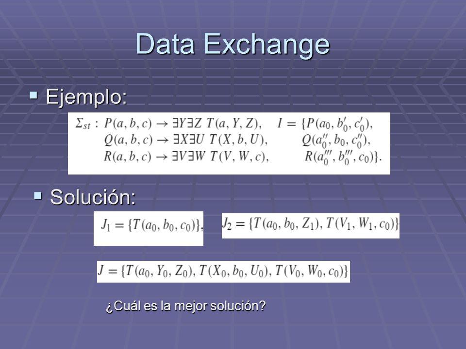 Data Exchange Ejemplo: Ejemplo: Solución: Solución: ¿Cuál es la mejor solución?