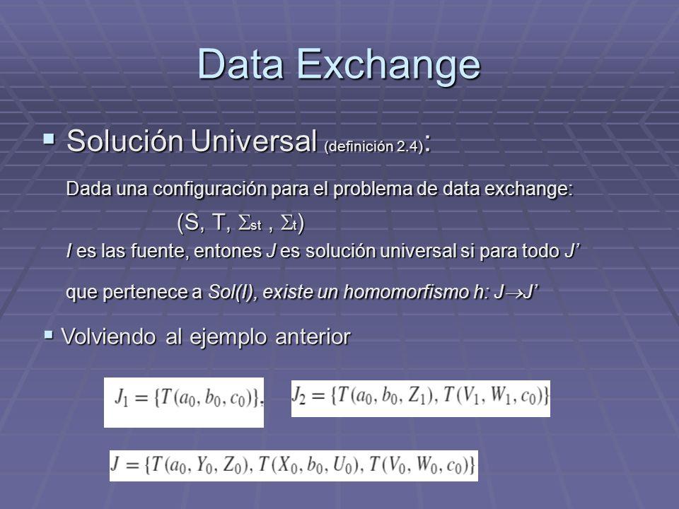 Data Exchange Solución Universal (definición 2.4) : Solución Universal (definición 2.4) : Dada una configuración para el problema de data exchange: (S