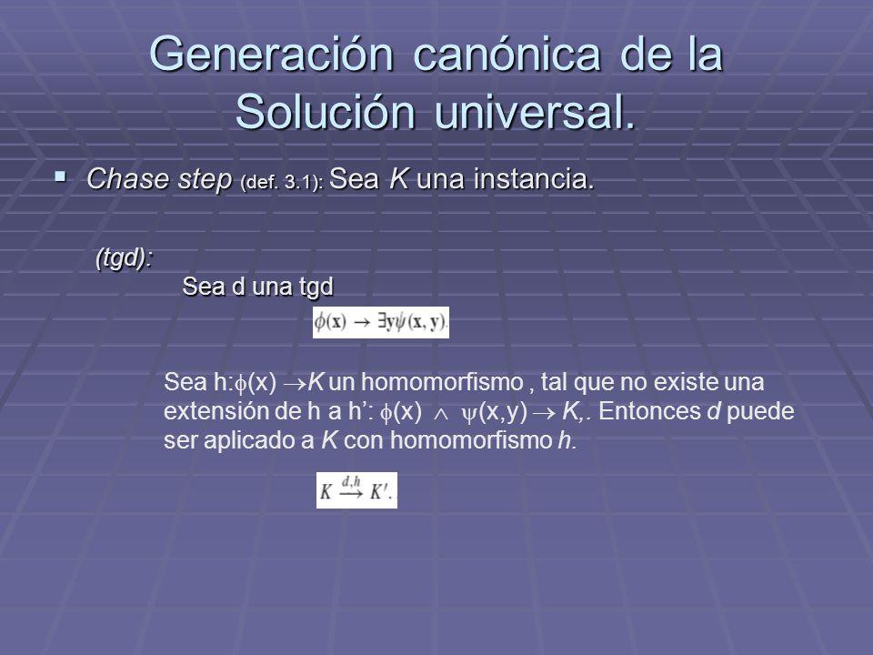 Generación canónica de la Solución universal. Chase step (def. 3.1): Sea K una instancia. Chase step (def. 3.1): Sea K una instancia. (tgd): Sea d una