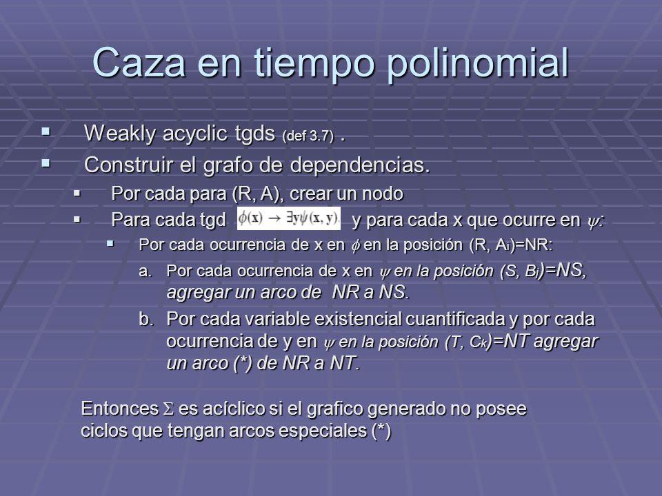 Caza en tiempo polinomial Weakly acyclic tgds (def 3.7). Weakly acyclic tgds (def 3.7). Construir el grafo de dependencias. Construir el grafo de depe