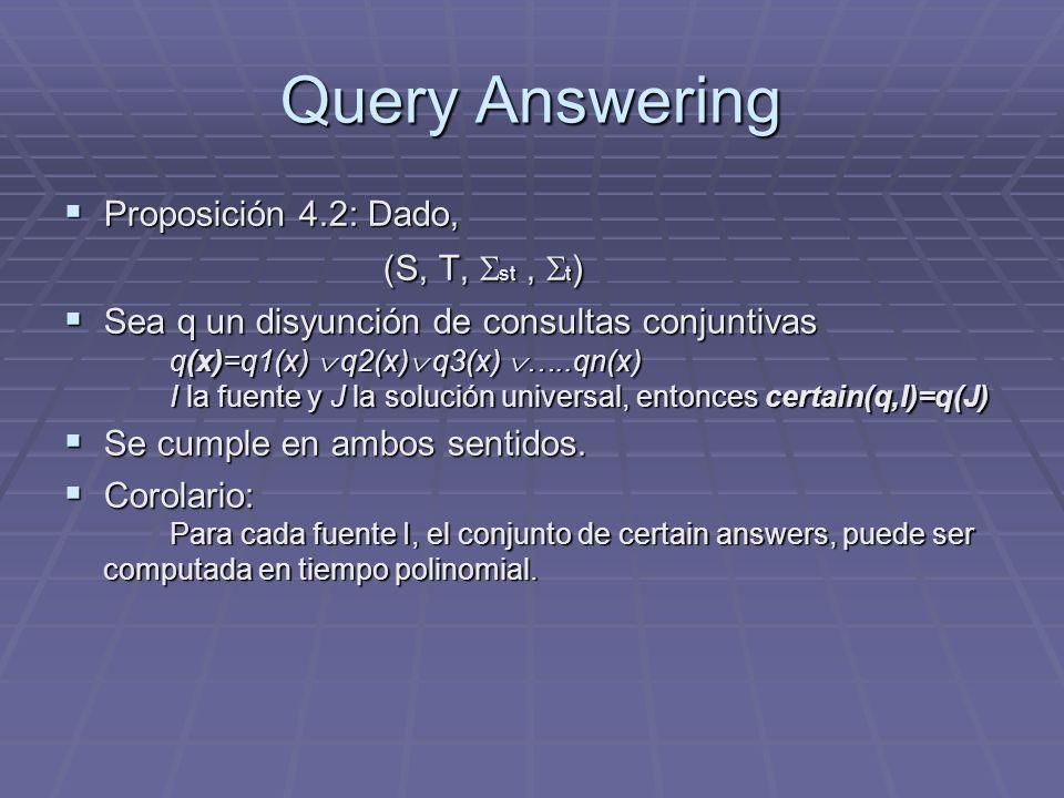 Query Answering Proposición 4.2: Dado, (S, T, st, t ) Proposición 4.2: Dado, (S, T, st, t ) Sea q un disyunción de consultas conjuntivas q(x)=q1(x) q2