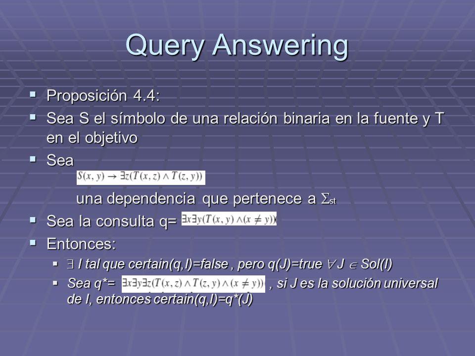 Query Answering Proposición 4.4: Proposición 4.4: Sea S el símbolo de una relación binaria en la fuente y T en el objetivo Sea S el símbolo de una rel