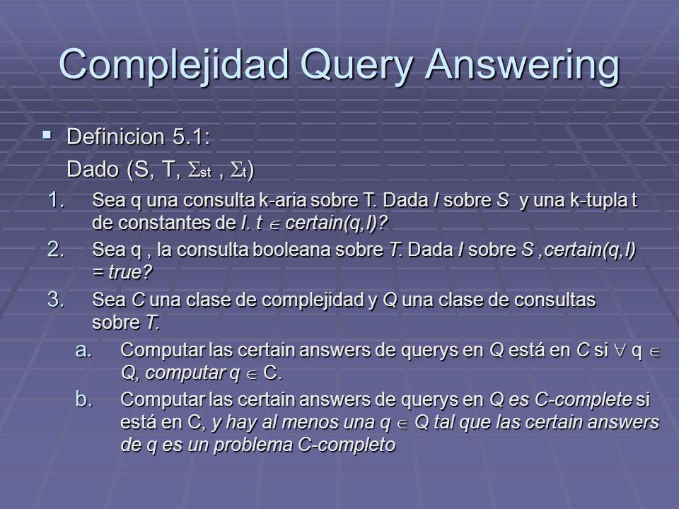 Complejidad Query Answering Definicion 5.1: Definicion 5.1: Dado (S, T, st, t ) 1. Sea q una consulta k-aria sobre T. Dada I sobre S y una k-tupla t d