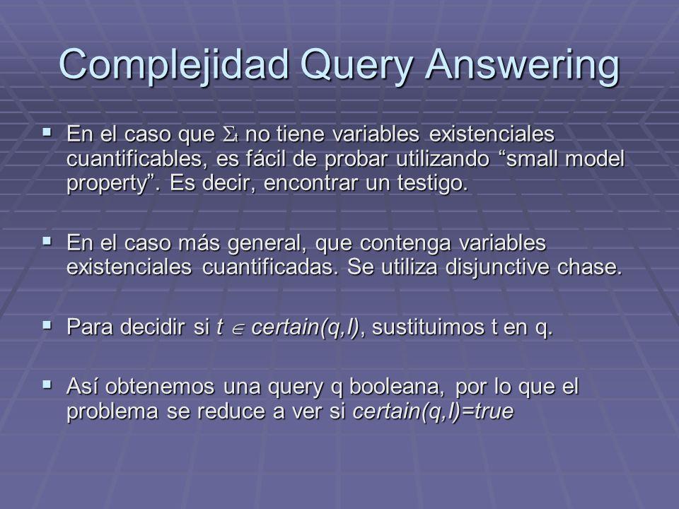 Complejidad Query Answering En el caso que t no tiene variables existenciales cuantificables, es fácil de probar utilizando small model property. Es d