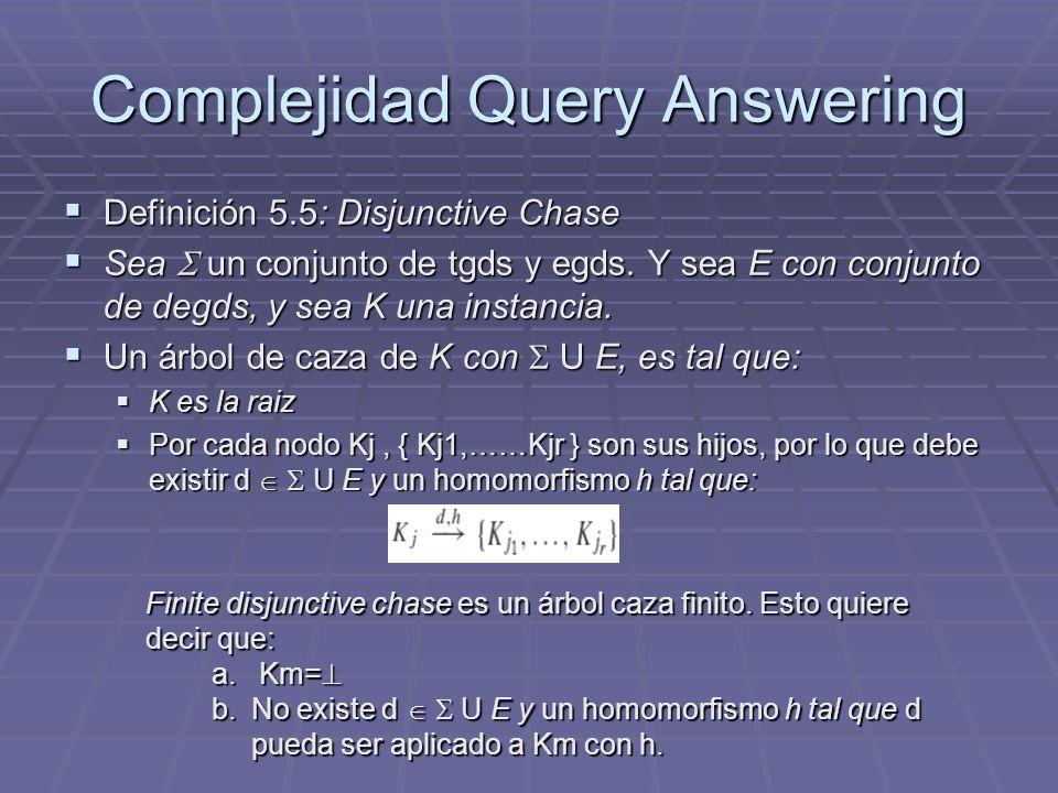 Complejidad Query Answering Definición 5.5: Disjunctive Chase Definición 5.5: Disjunctive Chase Sea un conjunto de tgds y egds. Y sea E con conjunto d