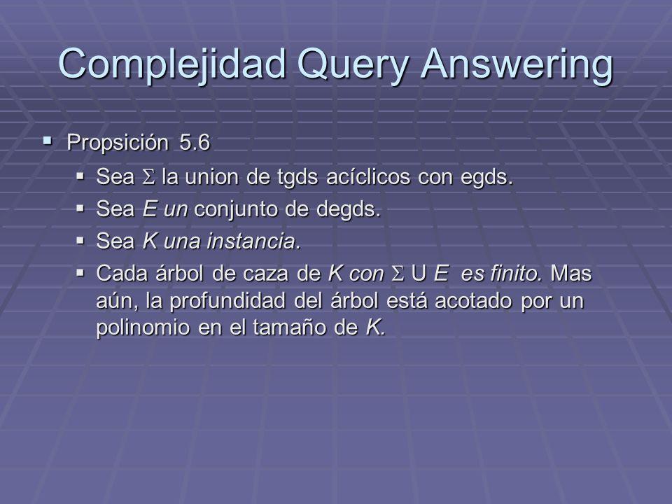 Complejidad Query Answering Propsición 5.6 Propsición 5.6 Sea la union de tgds acíclicos con egds. Sea la union de tgds acíclicos con egds. Sea E un c