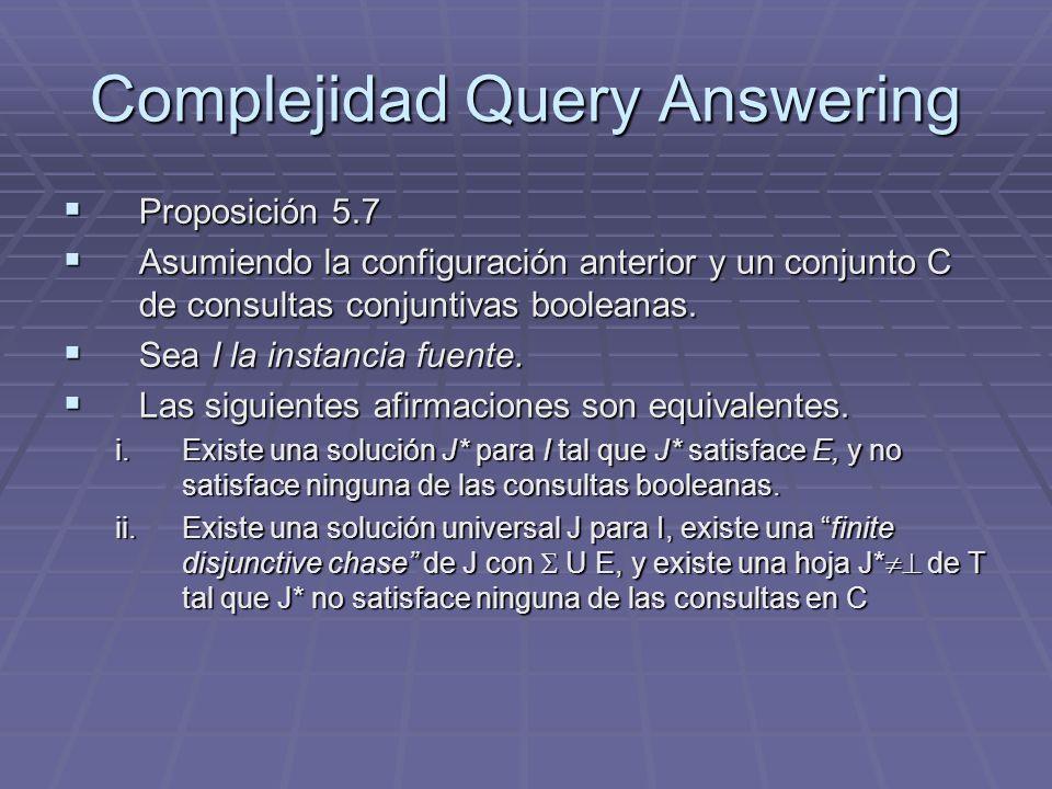 Complejidad Query Answering Proposición 5.7 Proposición 5.7 Asumiendo la configuración anterior y un conjunto C de consultas conjuntivas booleanas. As