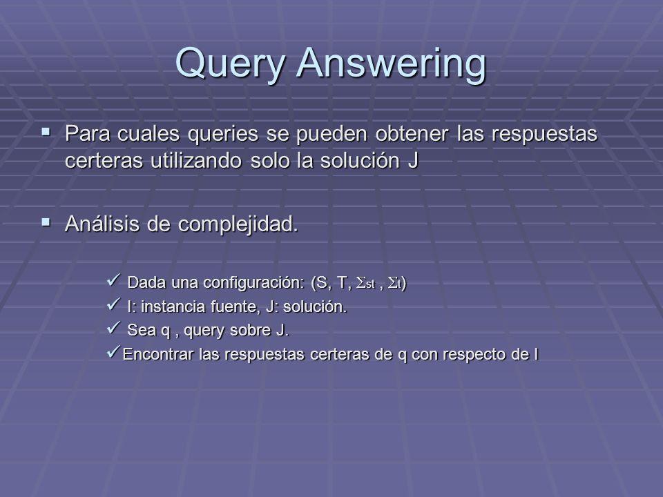 Query Answering Para cuales queries se pueden obtener las respuestas certeras utilizando solo la solución J Para cuales queries se pueden obtener las