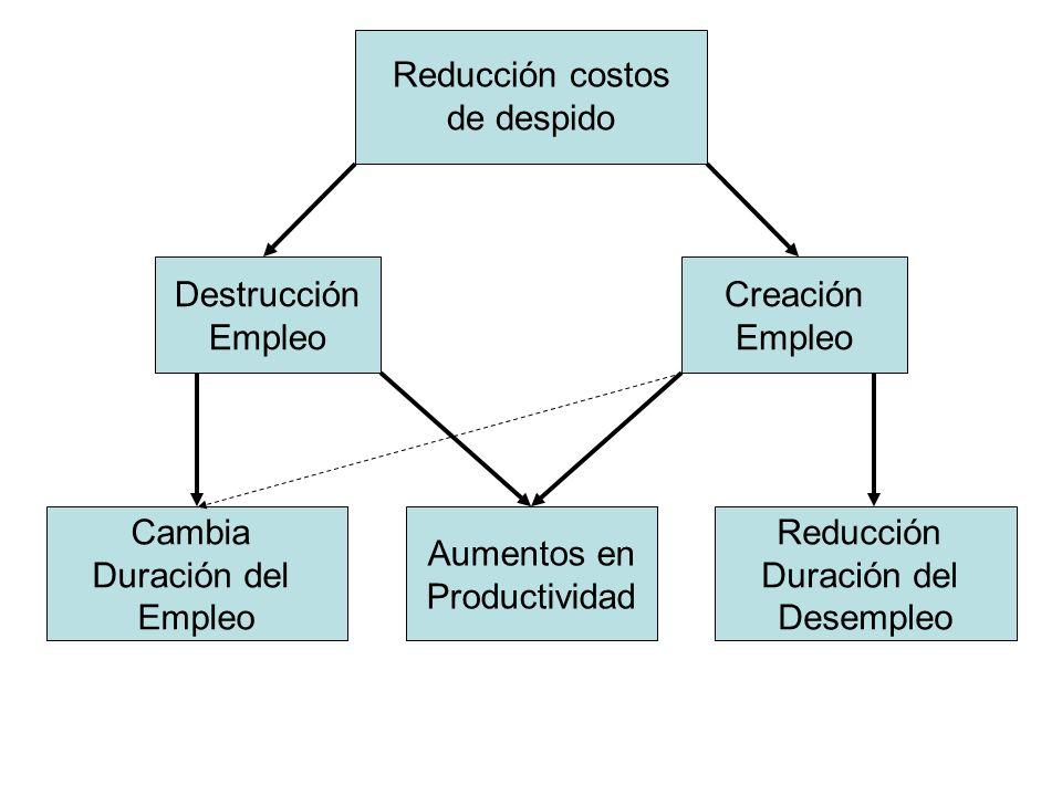 Reducción costos de despido Destrucción Empleo Creación Empleo Cambia Duración del Empleo Reducción Duración del Desempleo Aumentos en Productividad