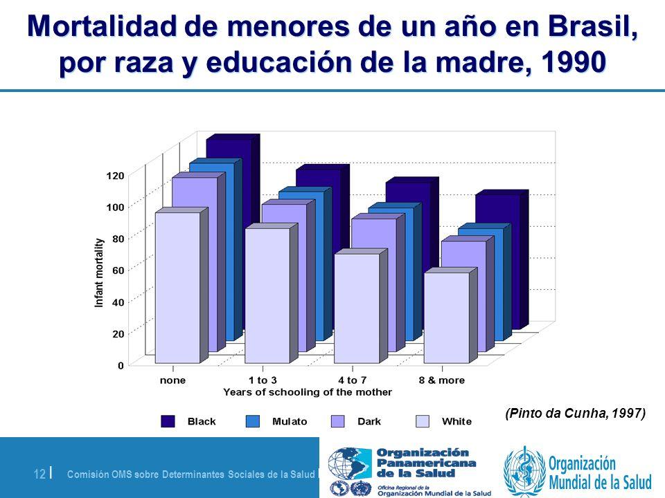Comisión OMS sobre Determinantes Sociales de la Salud | 28 de agosto de 2008 12 | (Pinto da Cunha, 1997) Mortalidad de menores de un año en Brasil, po