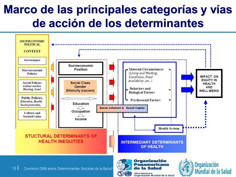 Comisión OMS sobre Determinantes Sociales de la Salud | 28 de agosto de 2008 18 | Marco de las principales categorías y vías de acción de los determin