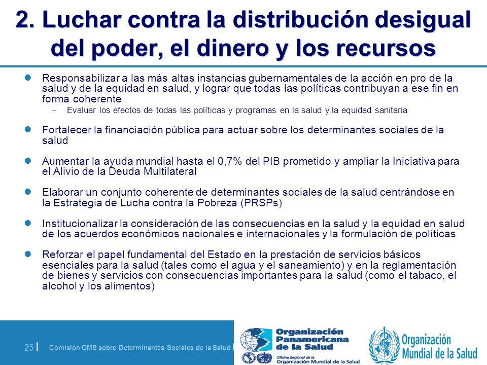 Comisión OMS sobre Determinantes Sociales de la Salud | 28 de agosto de 2008 25 | 2. Luchar contra la distribución desigual del poder, el dinero y los