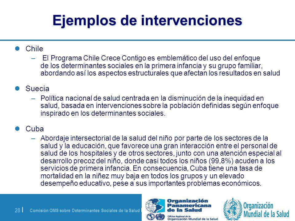 Comisión OMS sobre Determinantes Sociales de la Salud | 28 de agosto de 2008 28 | Ejemplos de intervenciones Chile – El Programa Chile Crece Contigo e