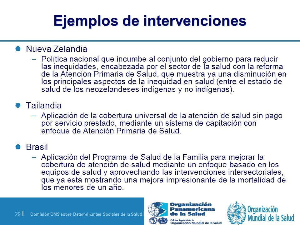 Comisión OMS sobre Determinantes Sociales de la Salud | 28 de agosto de 2008 29 | Ejemplos de intervenciones Nueva Zelandia –Política nacional que inc