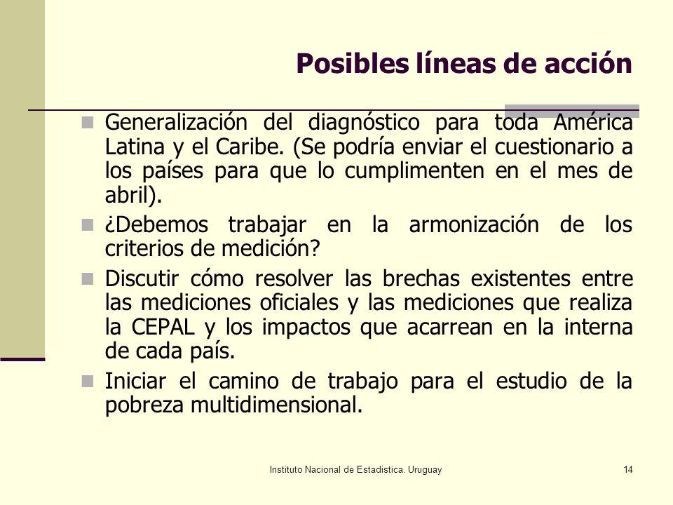 Instituto Nacional de Estadistica. Uruguay14 Posibles líneas de acción Generalización del diagnóstico para toda América Latina y el Caribe. (Se podría
