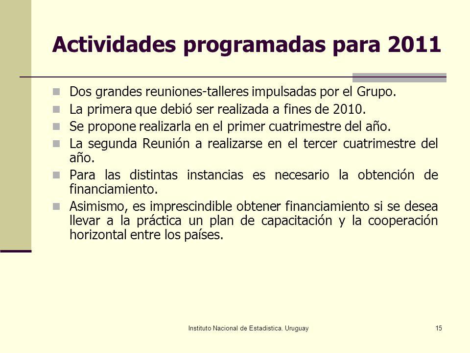 Instituto Nacional de Estadistica. Uruguay15 Actividades programadas para 2011 Dos grandes reuniones-talleres impulsadas por el Grupo. La primera que