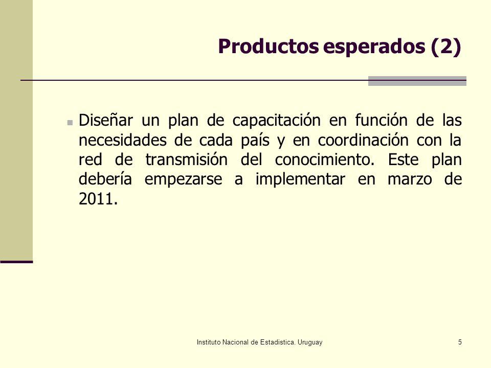 Instituto Nacional de Estadistica. Uruguay5 Productos esperados (2) Diseñar un plan de capacitación en función de las necesidades de cada país y en co