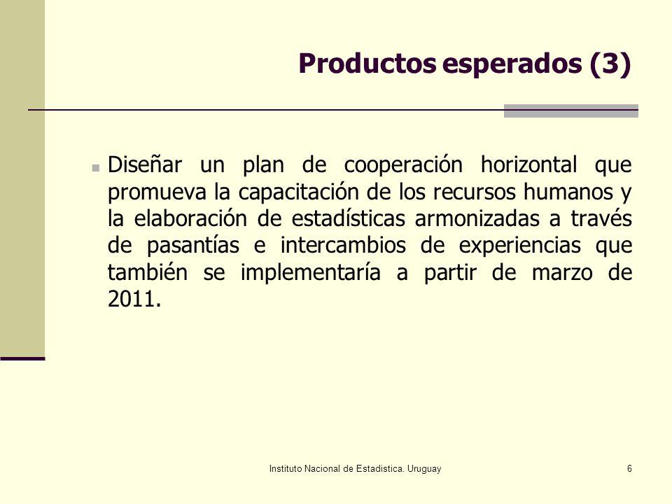 Instituto Nacional de Estadistica. Uruguay6 Productos esperados (3) Diseñar un plan de cooperación horizontal que promueva la capacitación de los recu