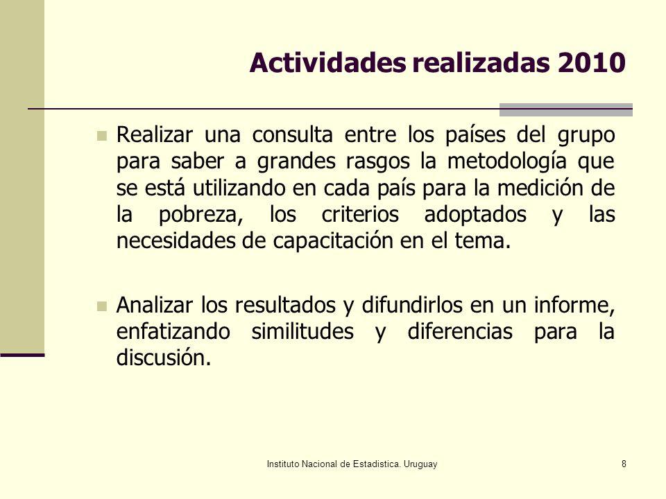 Instituto Nacional de Estadistica. Uruguay8 Actividades realizadas 2010 Realizar una consulta entre los países del grupo para saber a grandes rasgos l