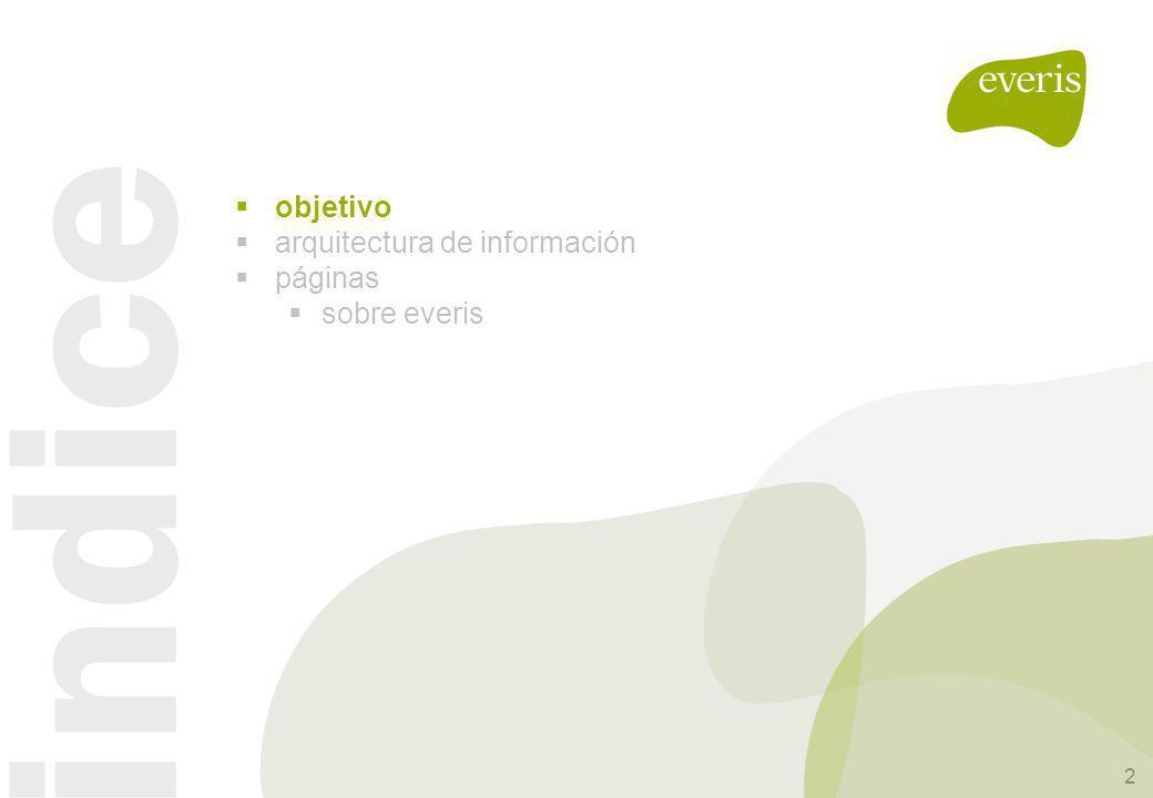 3 nueva web corporativa objeto Este documento tiene como objetivo presentar la sub-home Sobre everis, sobre su funcionamiento, layout, estructura y el tipo de contenidos que puede ser utilizado.