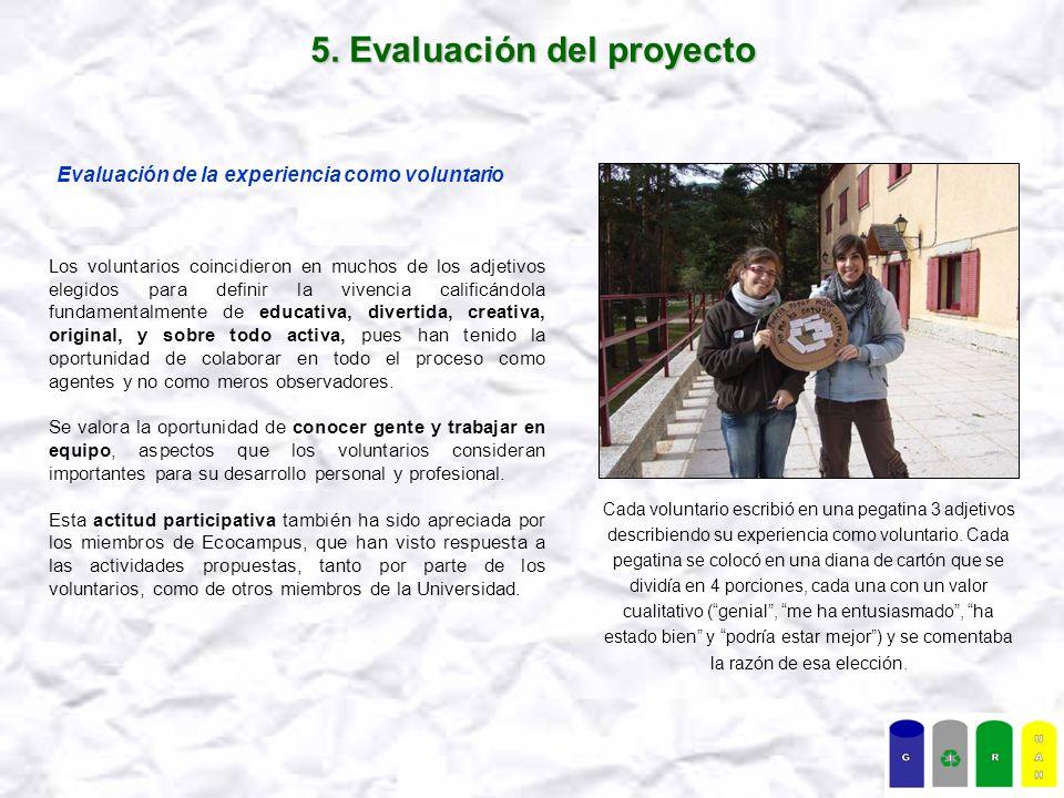 5. Evaluación del proyecto Evaluación de la experiencia como voluntario Los voluntarios coincidieron en muchos de los adjetivos elegidos para definir