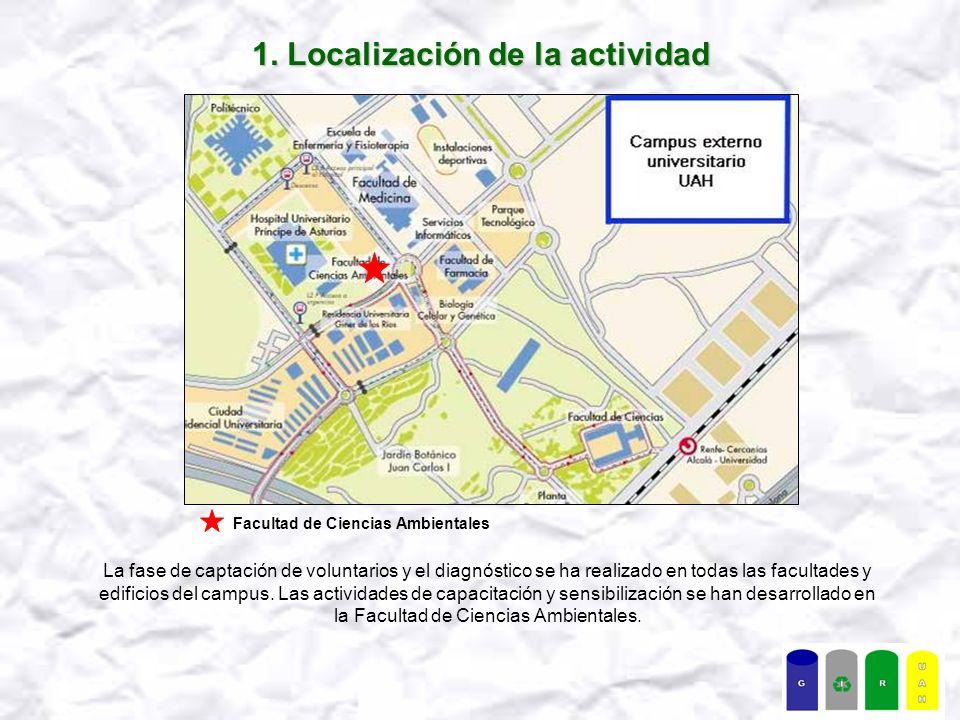 1. Localización de la actividad La fase de captación de voluntarios y el diagnóstico se ha realizado en todas las facultades y edificios del campus. L