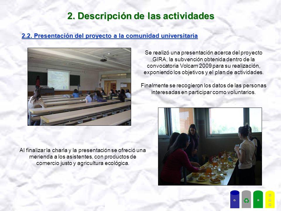 2. Descripción de las actividades 2.2.