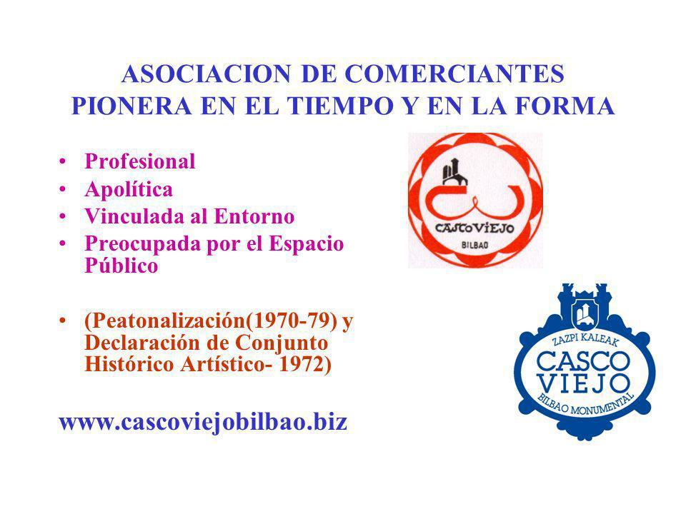 ASOCIACION DE COMERCIANTES PIONERA EN EL TIEMPO Y EN LA FORMA Profesional Apolítica Vinculada al Entorno Preocupada por el Espacio Público (Peatonaliz