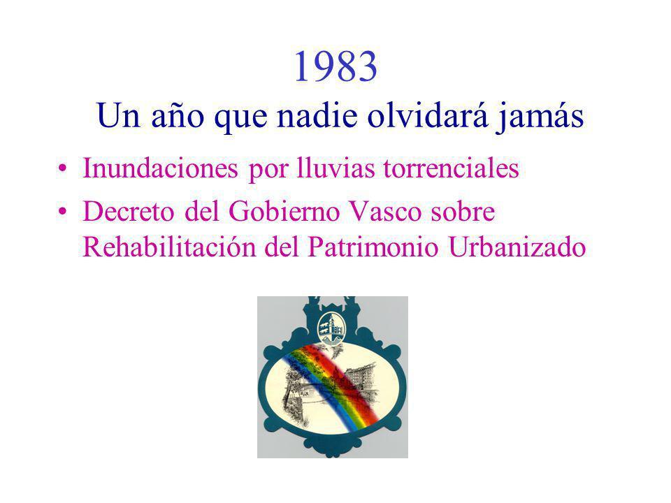1983 Un año que nadie olvidará jamás Inundaciones por lluvias torrenciales Decreto del Gobierno Vasco sobre Rehabilitación del Patrimonio Urbanizado
