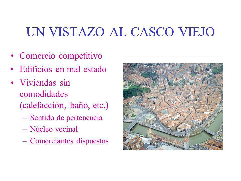 UN VISTAZO AL CASCO VIEJO Comercio competitivo Edificios en mal estado Viviendas sin comodidades (calefacción, baño, etc.) –Sentido de pertenencia –Nú