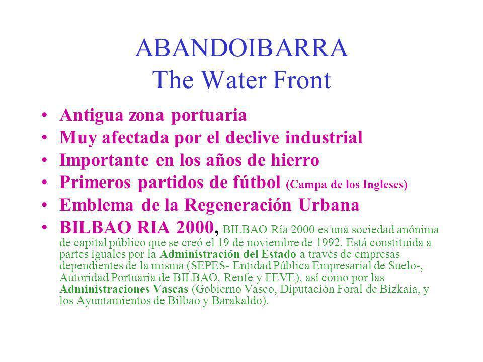 ABANDOIBARRA The Water Front Antigua zona portuaria Muy afectada por el declive industrial Importante en los años de hierro Primeros partidos de fútbo