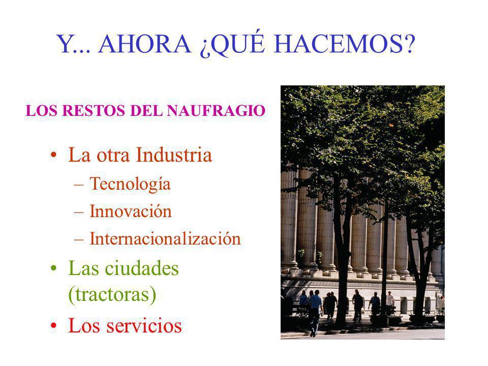 Y... AHORA ¿QUÉ HACEMOS? La otra Industria –Tecnología –Innovación –Internacionalización Las ciudades (tractoras) Los servicios LOS RESTOS DEL NAUFRAG