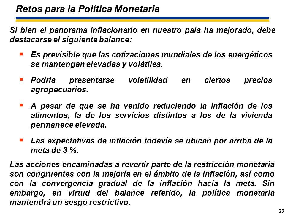23 Retos para la Política Monetaria Es previsible que las cotizaciones mundiales de los energéticos se mantengan elevadas y volátiles.