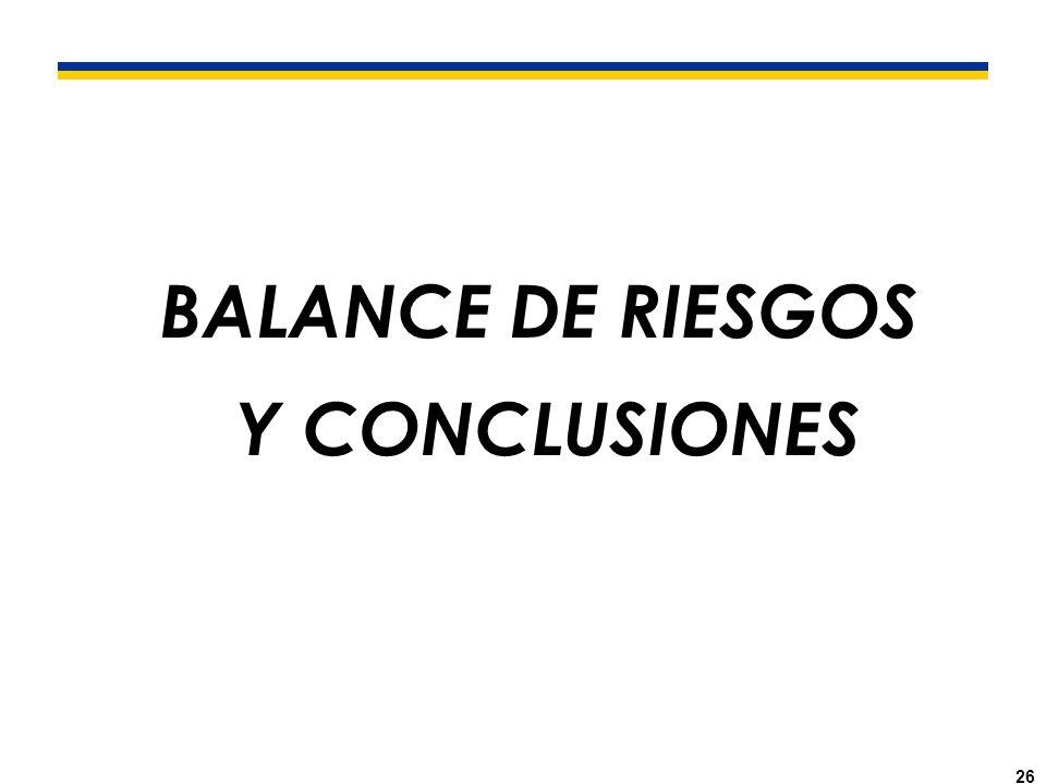 26 BALANCE DE RIESGOS Y CONCLUSIONES