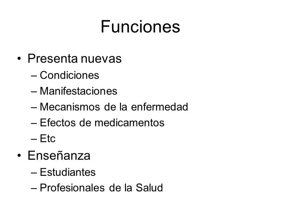 Funciones Presenta nuevas –Condiciones –Manifestaciones –Mecanismos de la enfermedad –Efectos de medicamentos –Etc Enseñanza –Estudiantes –Profesional