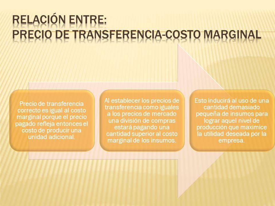 Precio de transferencia correcto es igual al costo marginal porque el precio pagado refleja entonces el costo de producir una unidad adicional. Al est