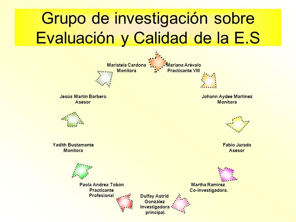 Grupo de investigación sobre Evaluación y Calidad de la E.S Mariana Arévalo Practicante VIII Johann Aydee Martínez Monitora Fabio Jurado Asesor Martha