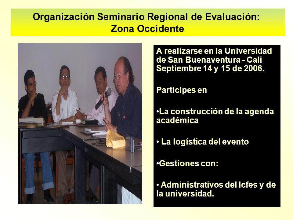 A realizarse en la Universidad de San Buenaventura - Cali Septiembre 14 y 15 de 2006. Partícipes en La construcción de la agenda académica La logístic